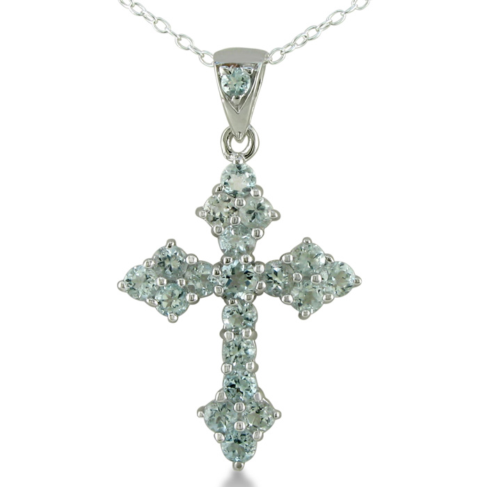 2 3ct aquamarine cross necklace sterling silver march