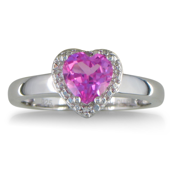 2ct Heart Shaped Created Pink Sapphire and Diamond Ring