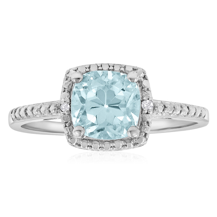 2 3/4ct Cushion Cut Blue Topaz And Diamond Ring In Sterling Silver