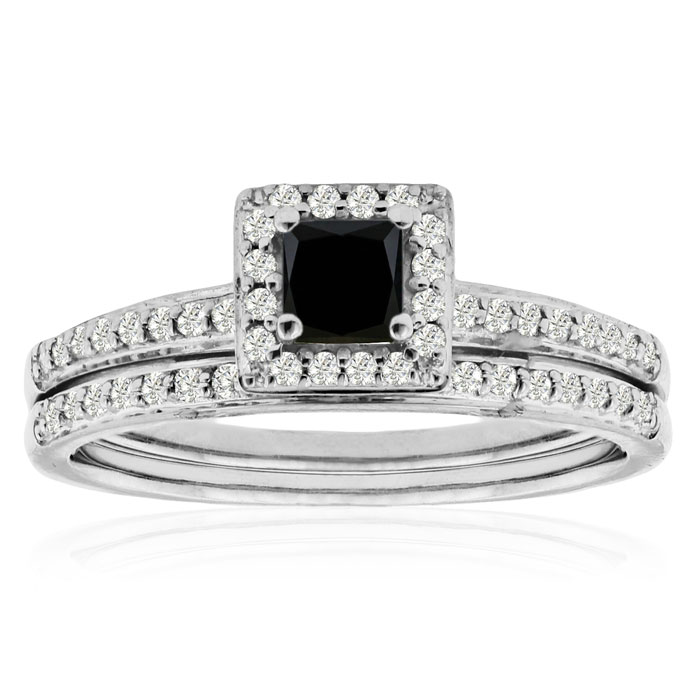 1 2ct Black and White Diamond Bridal Set in Sterling Silver