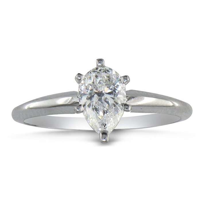 3/4ct Pear Shaped Diamond Solitaire Ring in 14k White Gold