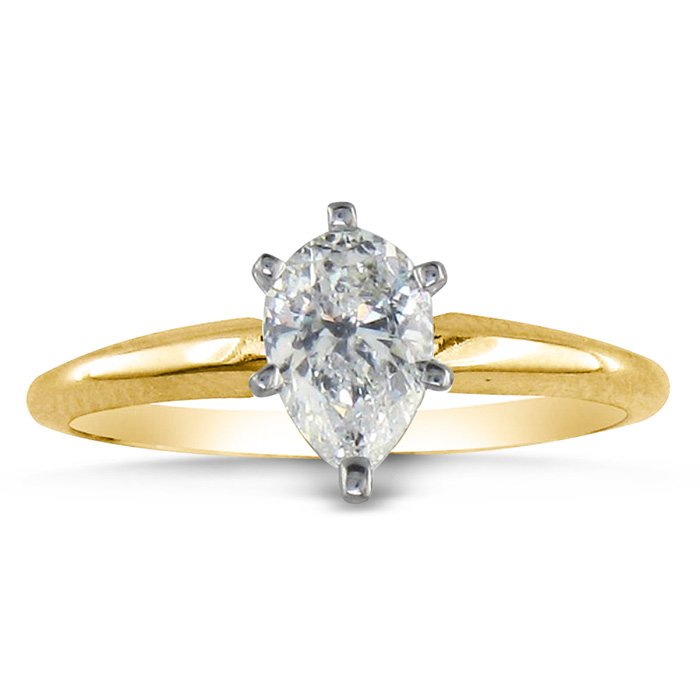 3/4ct Pear Shaped Diamond Solitaire Ring in 14k Yellow Gold