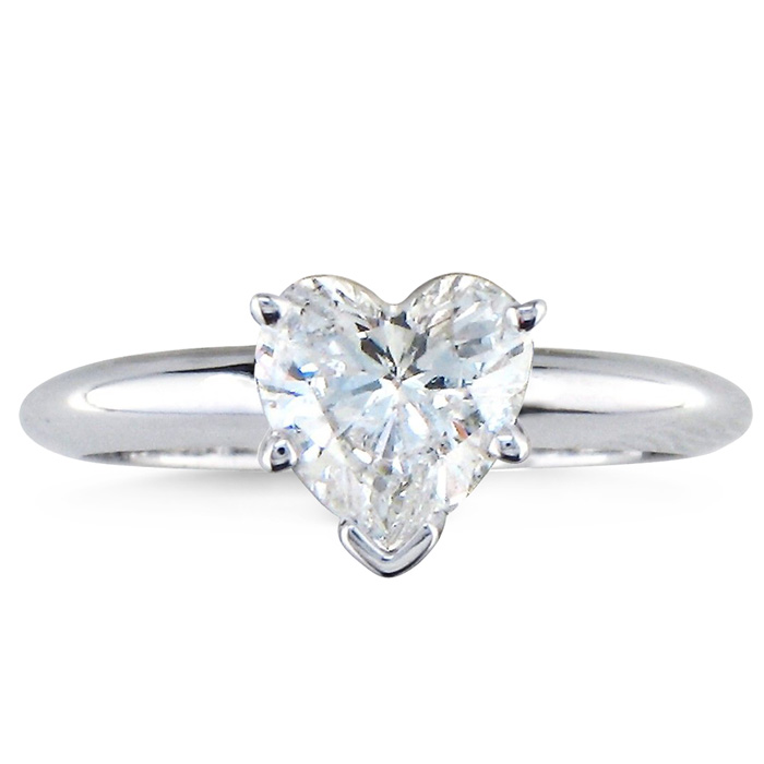 1ct Diamond Bands: 1ct Heart Shaped Diamond Solitaire Ring, 14k White Gold
