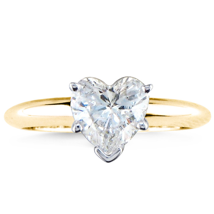 1ct Heart Shaped Diamond Solitaire Ring, 14k Yellow Gold, Available in 1/2 and 3/4ct also.