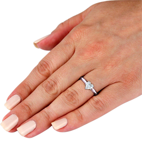 1 2ct Heart Shaped Diamond Solitaire Ring 14k White Gold