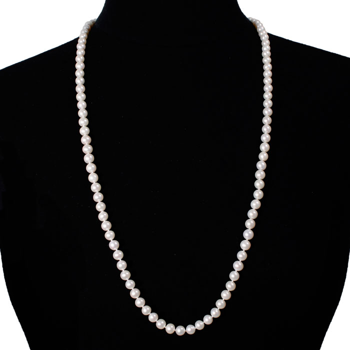 jewelpearl.com 30 inch 7mm AAA Pearl Necklace with 14k Yellow Gold Clasp