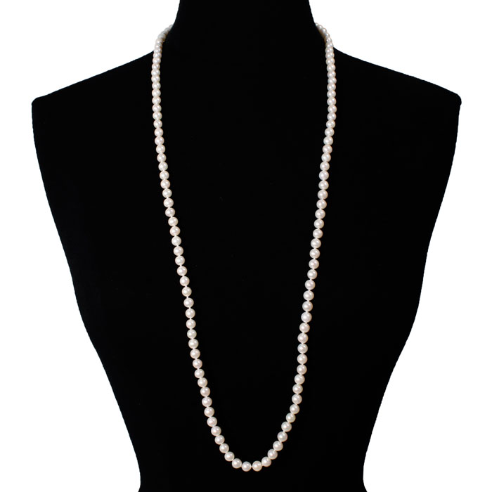 jewelpearl.com 36 inch 7mm AAA Pearl Necklace with 14k Yellow Gold Clasp