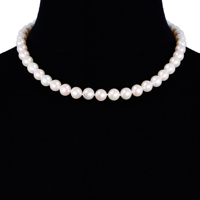 18 Inch 10mm AAA Hand Knotted Pearl Necklace, 14k Yellow Gold Clasp