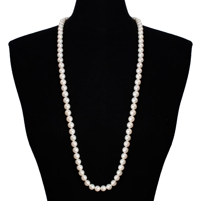 36 inch 10mm AAA Pearl Necklace with 14k Yellow Gold Clasp