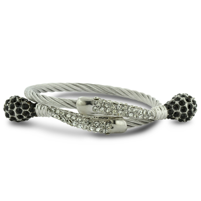 Twisted Women's Black and White Rhinestone Stainless Steel Cuff Bracelet