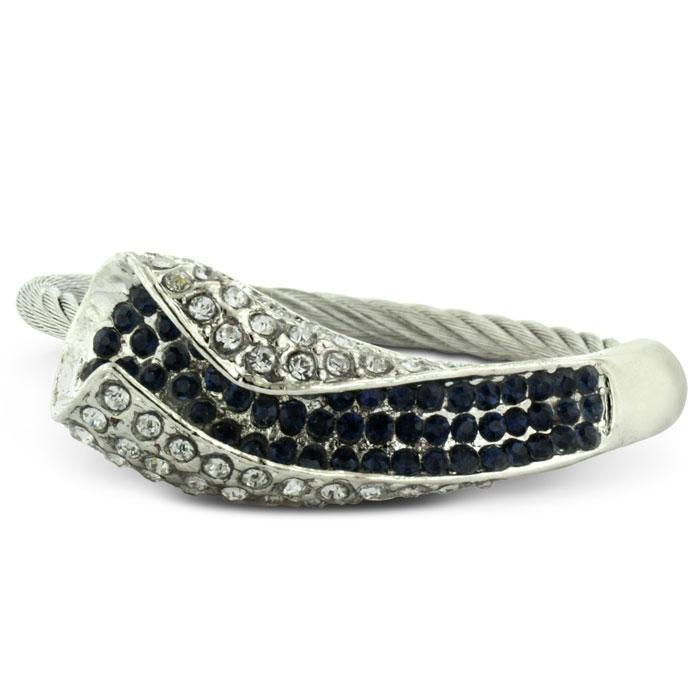 Twisted Women's Calla Lily Style Fiery Rhinestone Cuff Bracelet