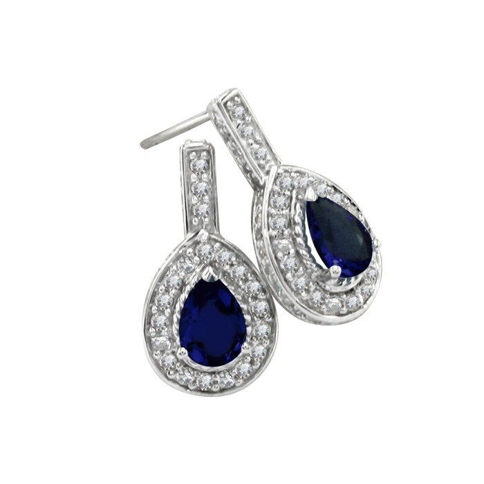 2.75ct Sapphire and Diamond Earrings in 14k White Gold