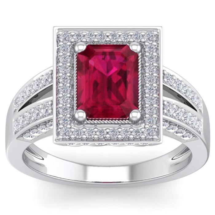 1 1/4ct Ruby And Diamond Ring In 14k White Gold