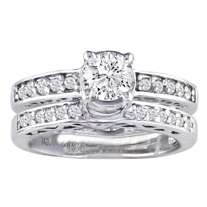 Very Fine 3/4ct Round Diamond Bridal Set, 14K White Gold