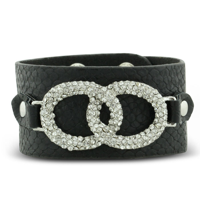 Soft Gorgeous Black Leather Cuff With Rhinestone Double Oval