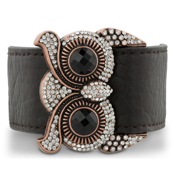 Leather and Crystal Owl Cuff Bracelet, Fits 6.5 to 8.5 Inches