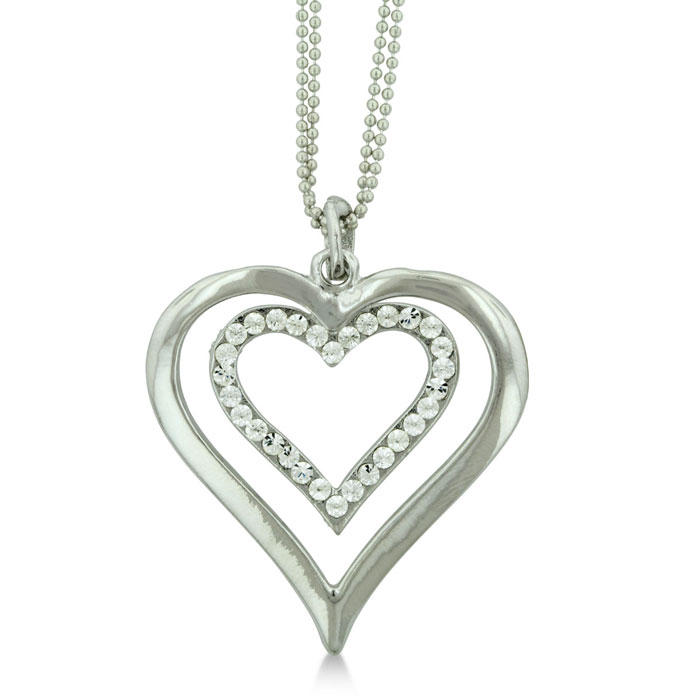 Double Heart Necklace Feature Swarovski Elements Crystals