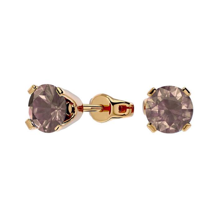 3/4ct Chocolate Bar Brown Champagne Diamond Stud Earrings in 14k Yellow Gold
