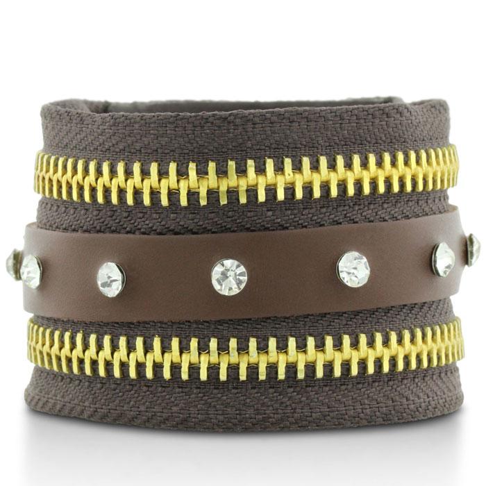 Brown Leather Rhinestone Adorned and Gold Tone Zipper Cuff Bracelet