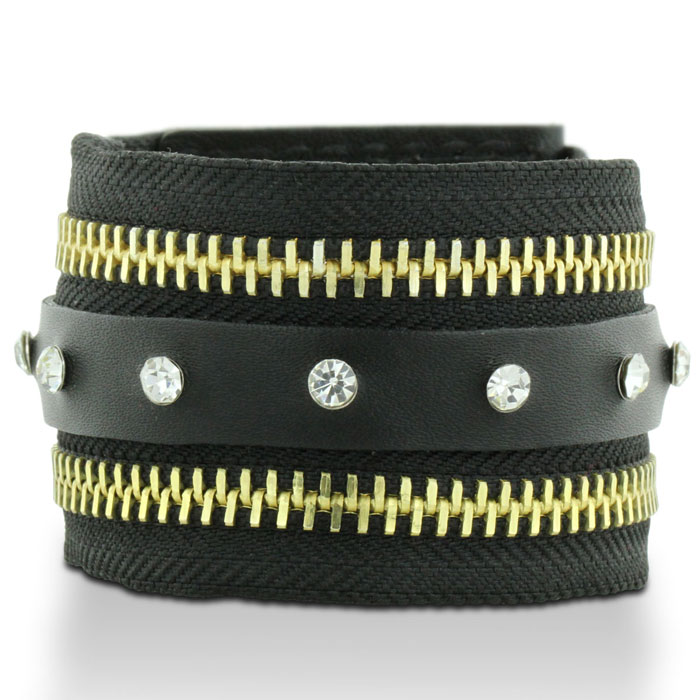 Black Leather Rhinestone Adorned and Gold Tone Zipper Cuff Bracelet