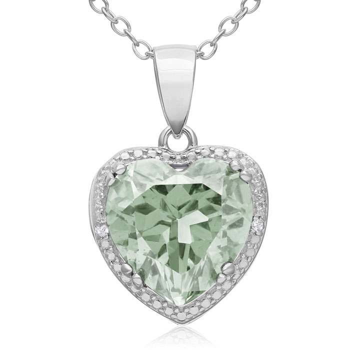 3.75ct Green Amethyst and Diamond Heart Necklace