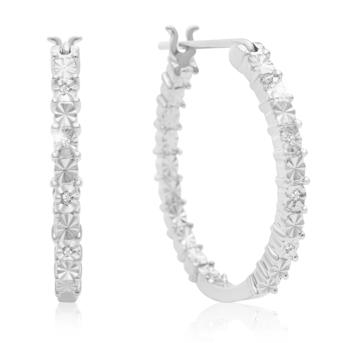sizzling accent hoop earrings in sterling