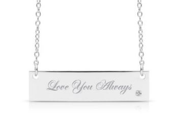 FREE ENGRAVING Sterling Silver Diamond Accent Bar Necklace, 18 Inches