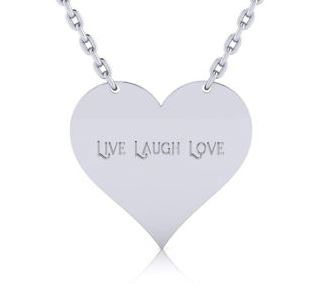 Sterling Silver Heart Necklace With Free Custom Engraving 18 Inches