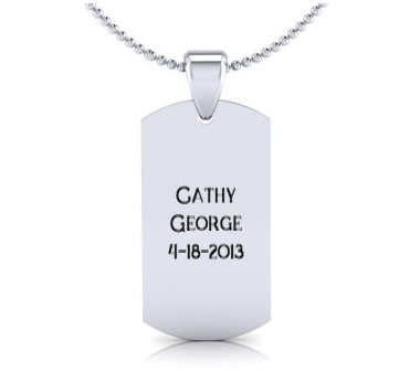 Stainless Steel Dog Tag With Free Custom Engraving, 19 Inches